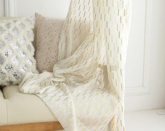 Golden Metallic Accented White Sheer Curtain
