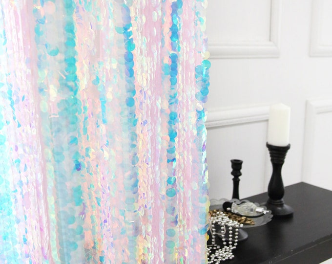 Featured listing image: Holographic Glittery Sequins Sheer Curtain Drapery Panel Party Decorative Curtain
