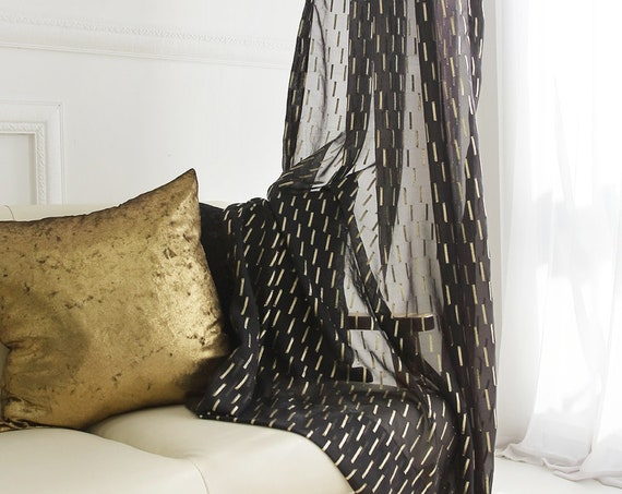 Golden Metallic Accented Black Sheer Curtain