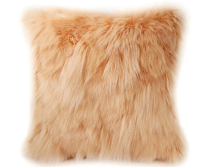 Orange Faux Fur Soft Decorative Square Cushion Cover 18 inches