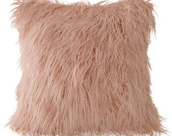 "Mongolian Lamb Faux Fur Square Cushion Cover 18"" X 18"" Grey Ivory Pink"