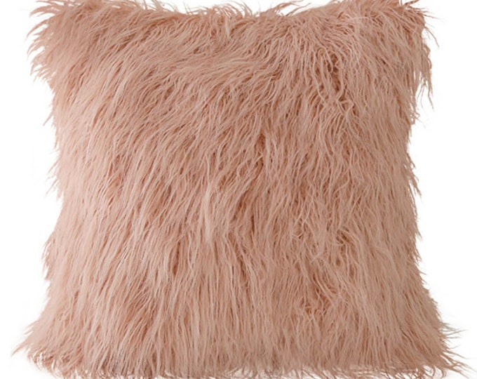 "Mongolian Lamb Faux Fur Square Cushion Cover 18"" X 18"" Grey Ivory Pink"