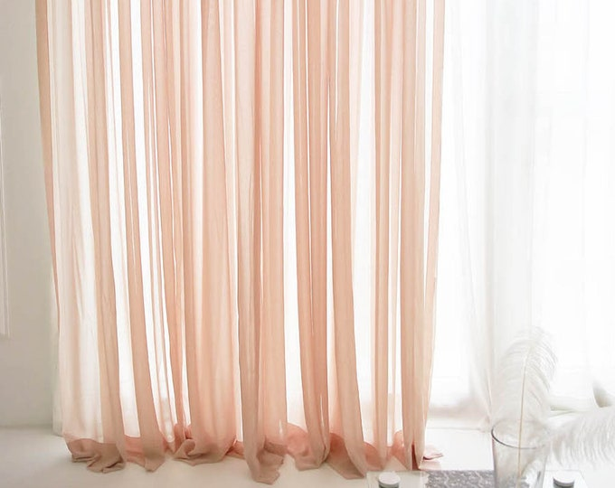 Featured listing image: Coral Pink Plain Sheer Curtain Panel