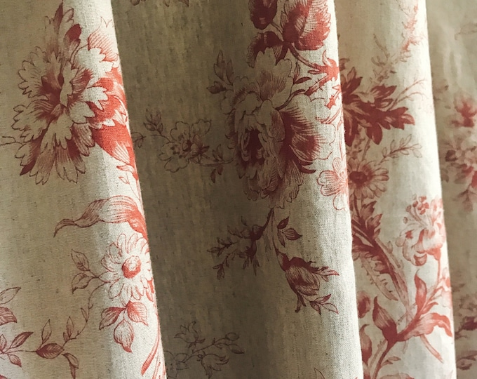 Vintage Red Floral Pattern Bio Washed Linen Cotton Curtain