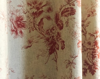 Vintage Red Floral Pattern Bio Washed Linen Curtain