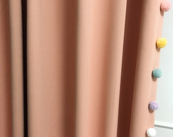 """Pale Peach Blackout Curtain with Adorable Multi Coloured Pom Poms. Nursery Curtain Panel. Various colours. 64"""" 84"""" 90"""" 96"""" Long by 53"""" Wide."""