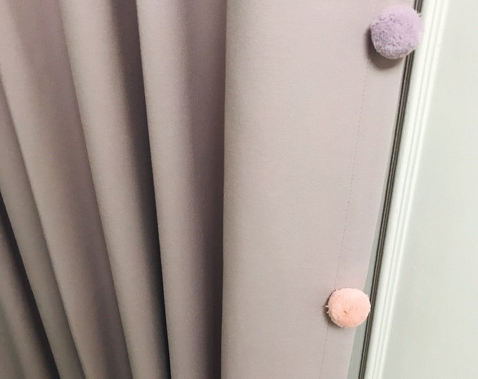 "Pale Lavender Curtain with Adorable Multi Coloured Pom Pom. Curtain Drapery Panel. Kids Curtain. Baby Room, 64"" 84"" 90"" 96"" Long by 55"" Wide"