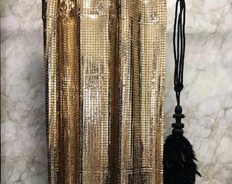 Glamorous Gold Metallic Plaids Curtain Decorative Drapery Panels 1 Pair