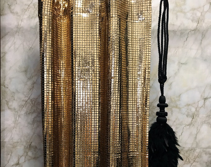 Sample Sale] Glamorous Gold Metallic Plaids Curtain Decorative Drapery Panels 1 Panel