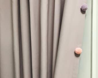 Multi Color Pom Poms Pale Lavender Curtain