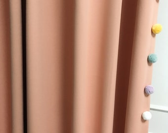 Multi Colored Pom Poms Edging Trimmed Peach Pink Blackout Curtain