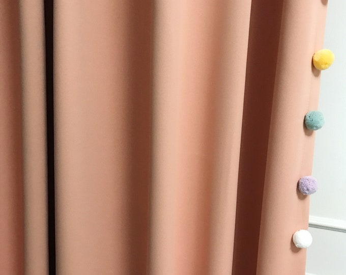 Sample Sale] 1 Pair of Multi Colored Pom Poms Edging Trimmed Peach Pink Blackout Curtain