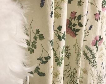 Hydrangea Floral Pattern Bio Washed Linen Cotton Curtain