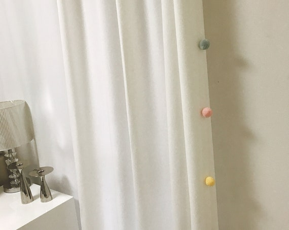 "White Curtain with Adorable Multi Coloured Pom Poms. Curtain Drapery Panel. Kids Curtains. Baby Rooms, 64"" 84"" 90"" 96"" Long by 55"" Wide."