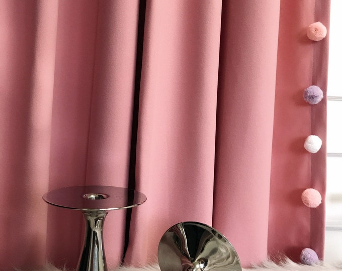 Multi Colored Pom Poms Edging Trimmed Pink Curtain