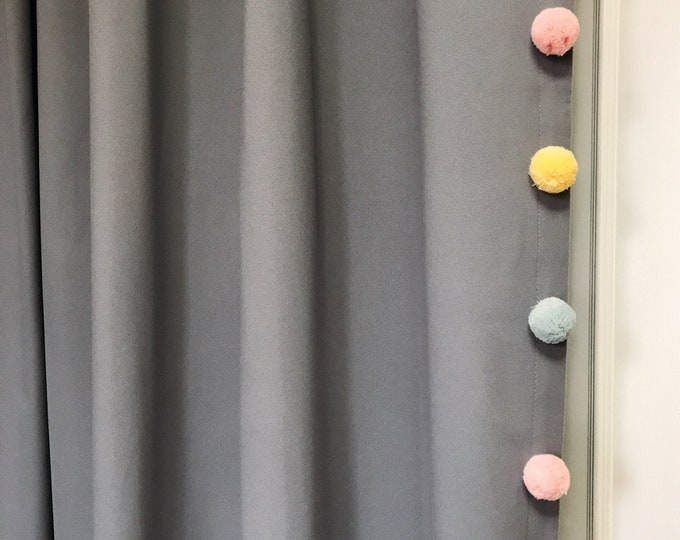 Sample Sale] 1 Pair of Multi Colored Pom Poms Edging Trimmed Grey Curtain
