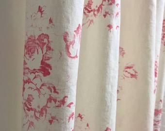 Vintage Pink Floral Pattern Washed Linen Curtain