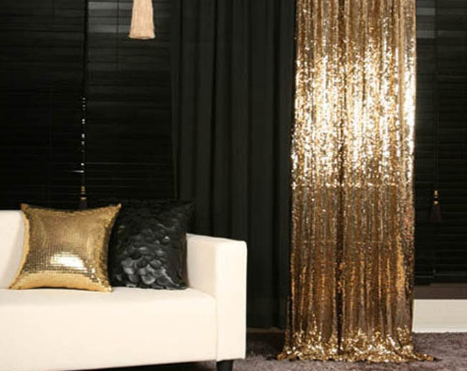 Featured listing image: Gold Sequins Drops Embellished Metallic Drapery Lined Curtain 1Pair