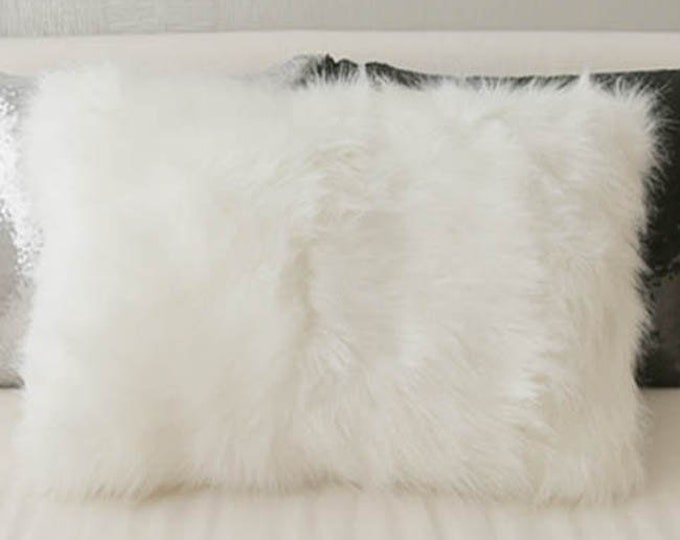 White Soft Faux Fur Rectangle Cushion Cover 23 inches Length by 13 inches Width
