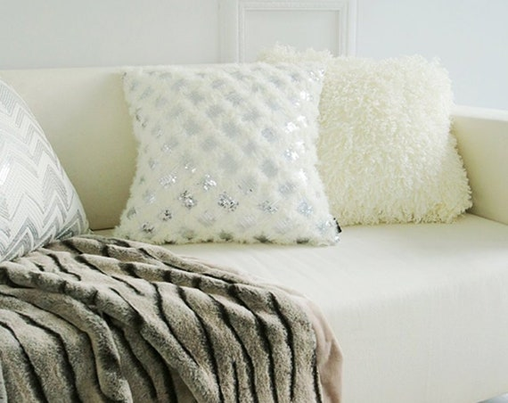 """White Fringes with Silver Sparkles Square Cushion 18"""" X 18"""""""