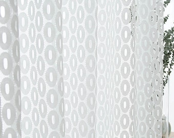 Oval Shaped Accents Embroidered White Sheer Curtain