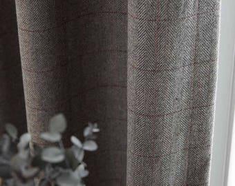 Grey Wool Herringbone Curtain Winter