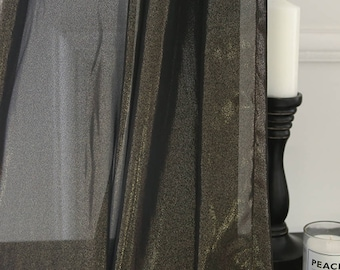 Gold Glitter Accents Black Sheer Curtain