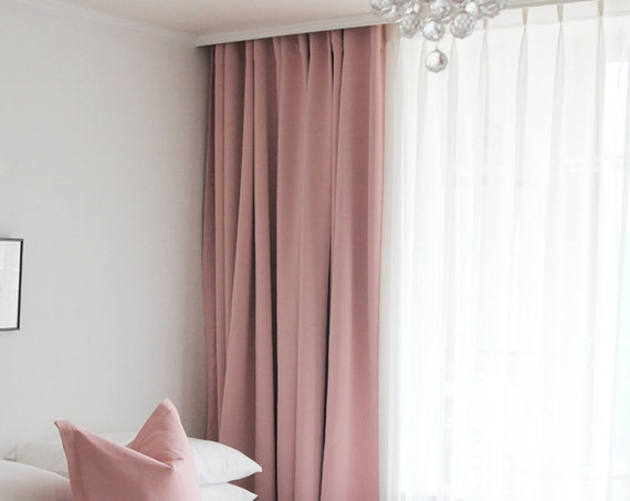 Pale Pink Solid Blackout Curtain Nursery Curtain Drapes