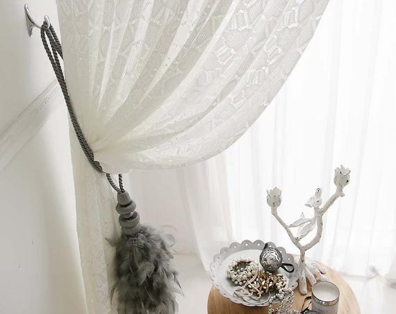 White Crochet Sheer Curtain
