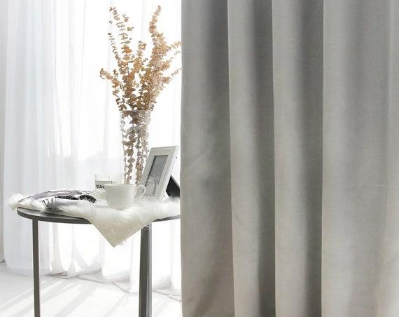 Silver-Grey Silky Blackout Curtain Faux Silk Curtain