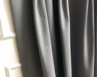 """Grey Pencil Pleats Curtain Panel. Plain Curtain. Various Colours. 64"""" 84"""" 90"""" 96"""" Long by 31.5"""" Wide. Curtains with ties. Window Treatments"""