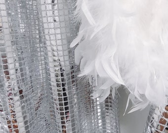 Glamorous Silver Metallic Plaids Curtain Drapery Panel