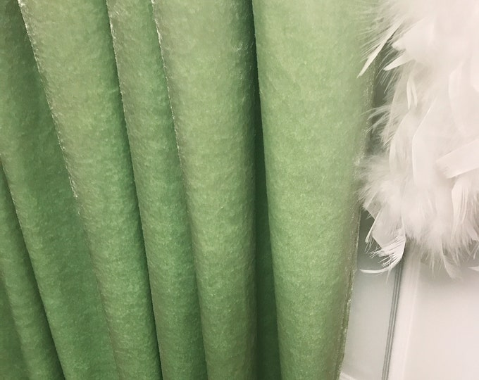 """Glam Pea Green Velvet Curtain Panel. Curtain Drapes. Various Colours. 64"""" 84"""" 90"""" 96"""" Long by 53"""" Wide. Curtains with Ties.Window Treatments"""
