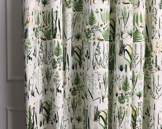 Green Plants on White Linen Cotton Curtain