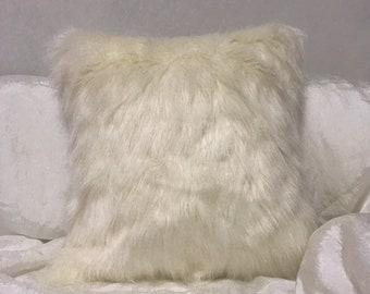 White Faux Fur Accent Decorative Square Cushion 18 inches
