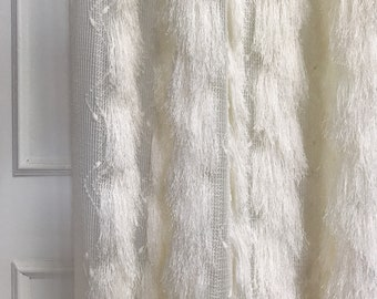 Ivory Sheer with Fringes Accents Drapery Curtain