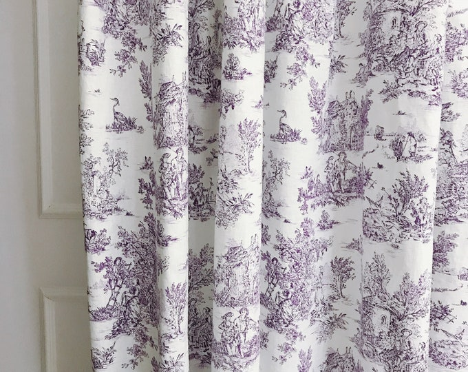 Purple Vintage Farm Scenery on Ivory Washed Linen Curtain