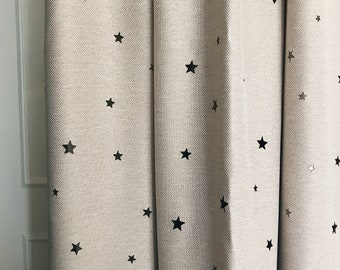 Beige Stars Pattern Cutting out Faux Linen Semi Blackout Curtains Window Treatments Nursery Curtains
