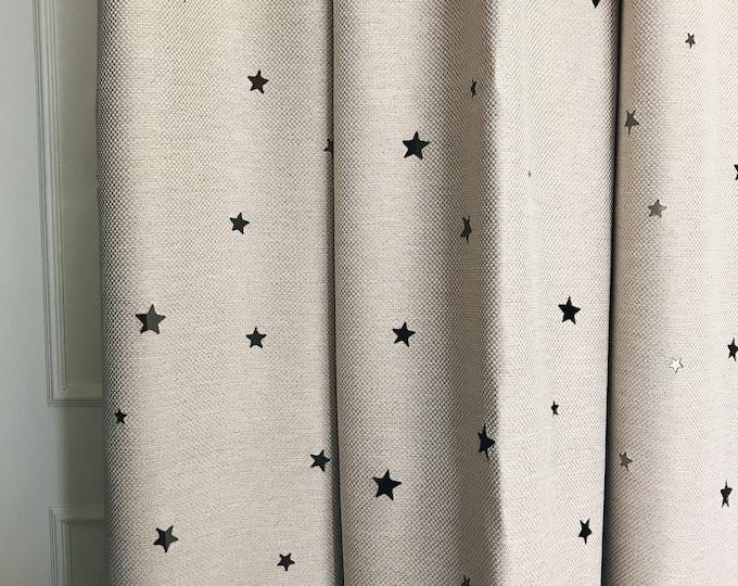 Beige Stars Pattern Cutting out Faux Linen Semi Blackout Curtain