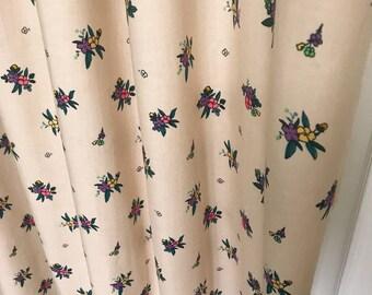 "Purple Floral Patterned Beige Curtain Panel. 64"" 84"" 90"" 96"" Long by 39"" Wide. Window Treatments."