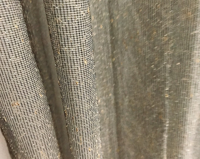 Golden Metallic Accents Black Mesh Weave Sheer Curtain