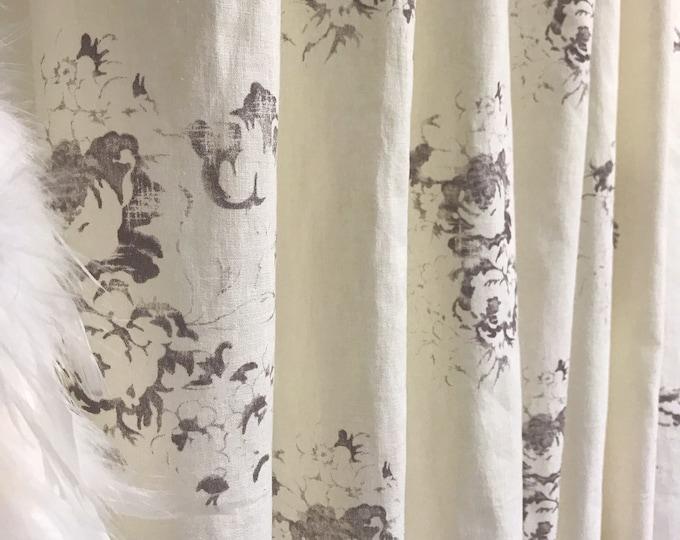 Vintage Brown Floral Pattern Washed Linen Curtain