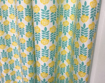 """Yellow Flowers and Mint Leaves. Spring Days Curtain Panel. 64"""" 84"""" 90"""" 96"""" Long by 39"""" Wide. Window Treatments. Nursery Curtains"""