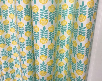 Yellow Flowers with Mint Leaves Printed Curtain
