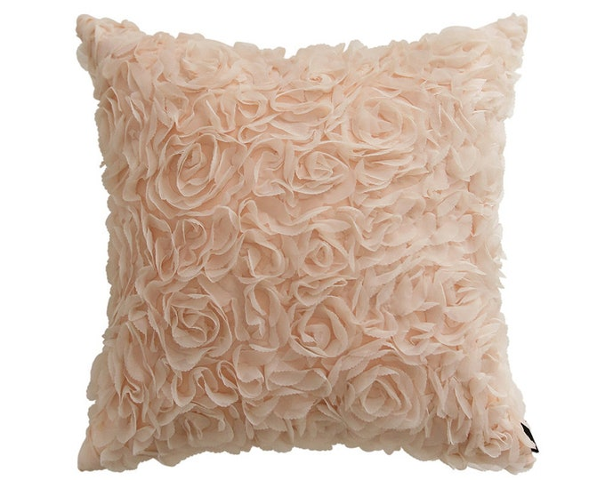 "Pale Peach Rose Patterned Square Throw Cushion 18"" X 18"""