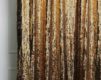 Sample Sale] Lined Curtain Gold Sequins Drops Embellished Metallic Drapery Curtain