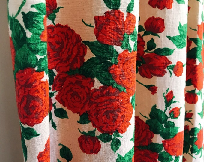 Vintage Rose Pattern Bio Washed Linen Curtain