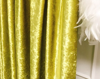 """Glam Olive Velvet Curtain Panel. Curtain Drapes. Various Colours. 64"""" 84"""" 90"""" 96"""" Long by 53"""" Wide. Curtains with Ties. Window Treatments"""