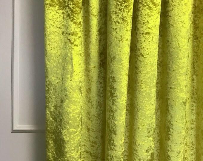 Glam Neon Olive Subtle Gloss Velvet Curtain