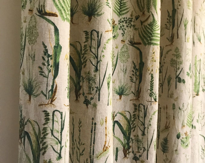 Green Plants with Oatmeal Background Linen Curtain